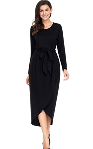 BY61818-2 Black Tulip Faux Wrap Sash Tie Jersey Dress